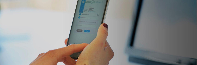 Mevrouw opent een AcceptEasy betaalverzoek op haar smartphone